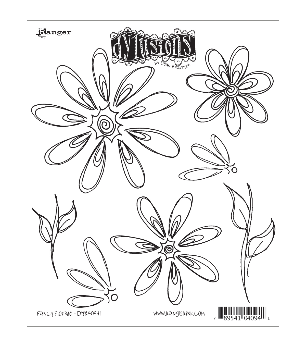 Ranger Dyan Reaveley Dylusions Cling Stamp Fancy Florals