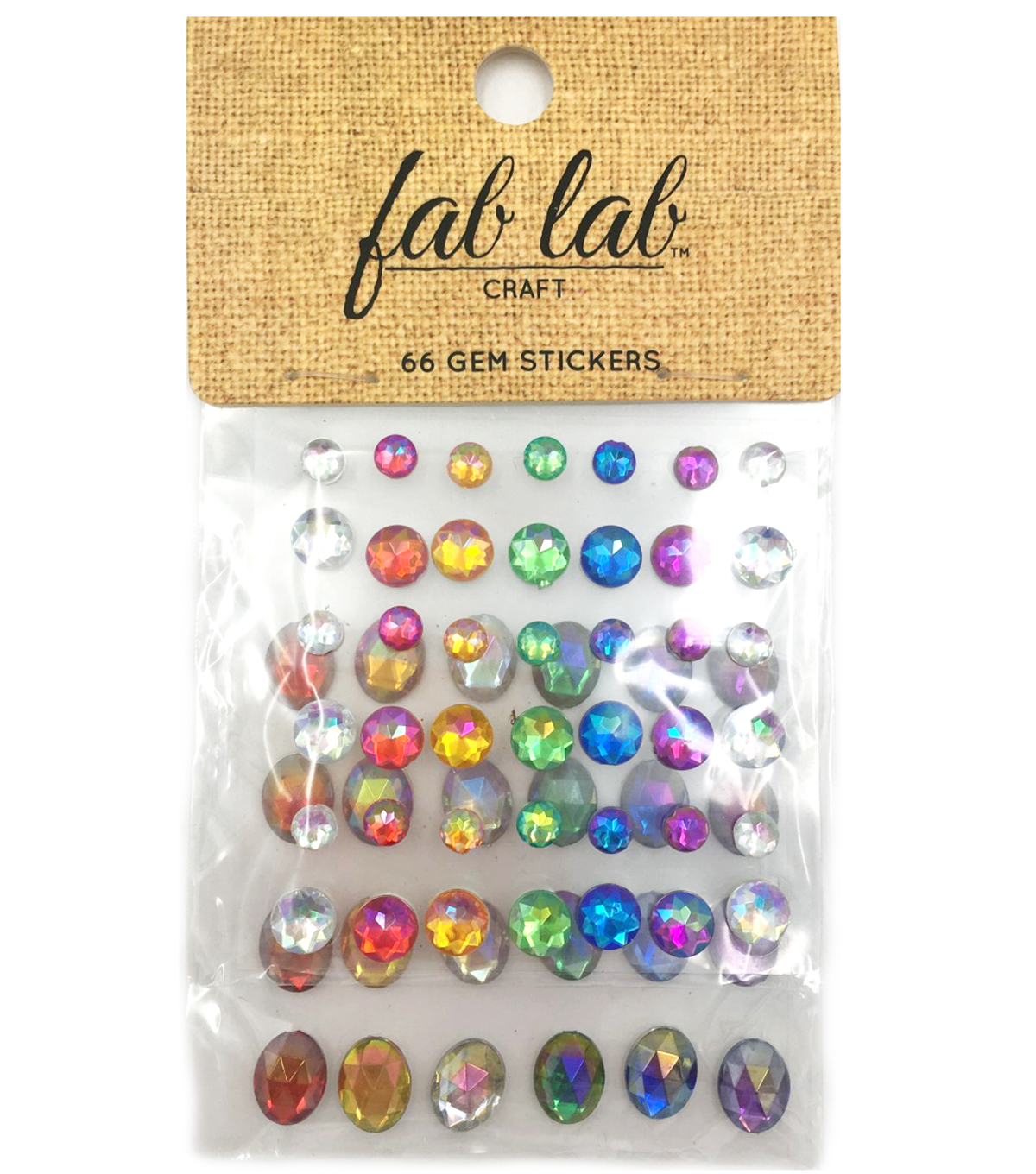 Adhesive Jewels Asst. Size Round Shapes, Primary Colors, 63pc.