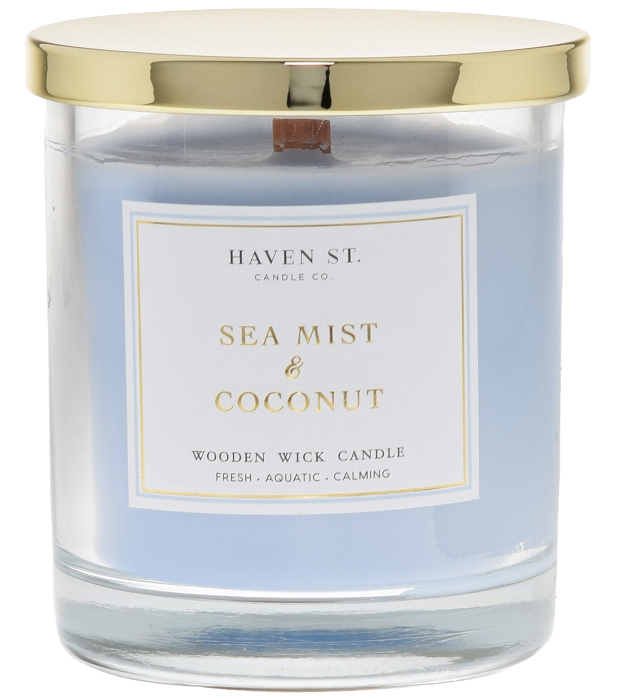 Haven St. Candle Co. Sea Mist & Coconut Scented Wooden Wick Jar Candle