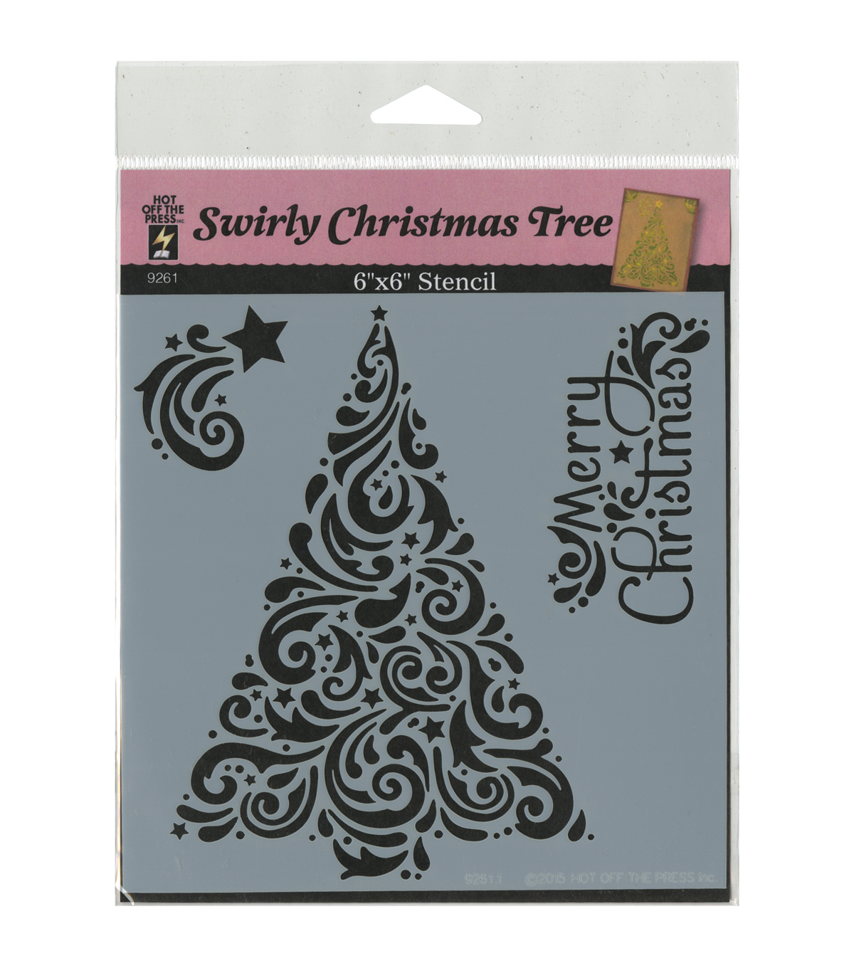 Hot Off the Press 6\u0027\u0027x6\u0027\u0027 Plastic Stencil-Swirly Christmas Tree