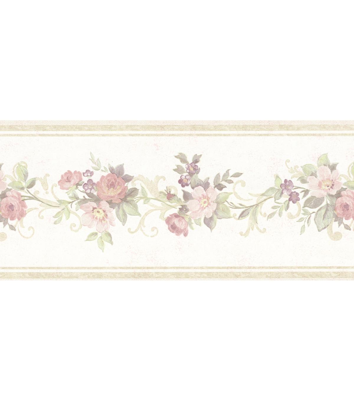 Floral Trail Wallpaper Border Cream Sample Joann