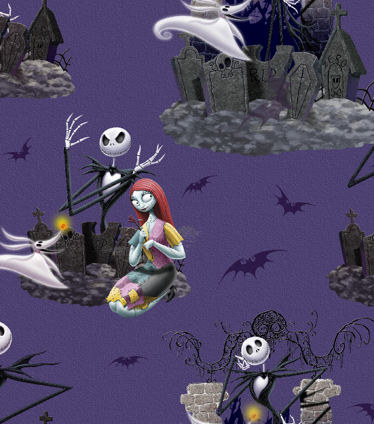 Halloween Cotton Fabric -Nightmare Before Xmas Scenic