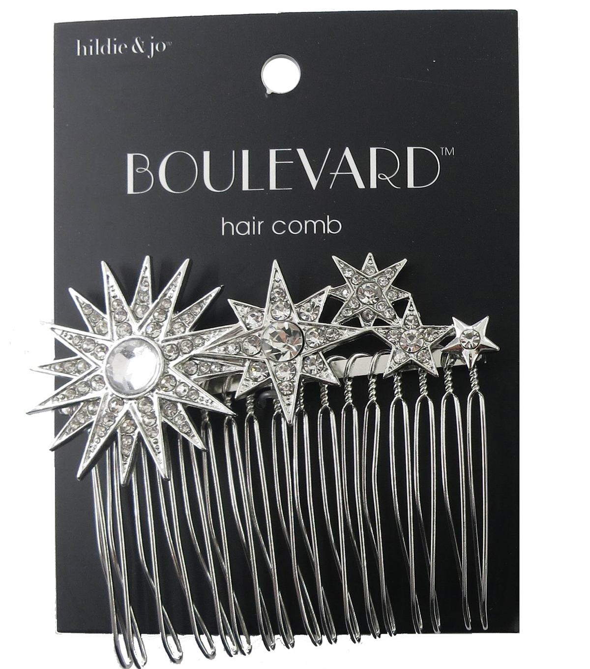 hildie & jo Boulevard Silver Hair Comb-Stars with Clear Crystals