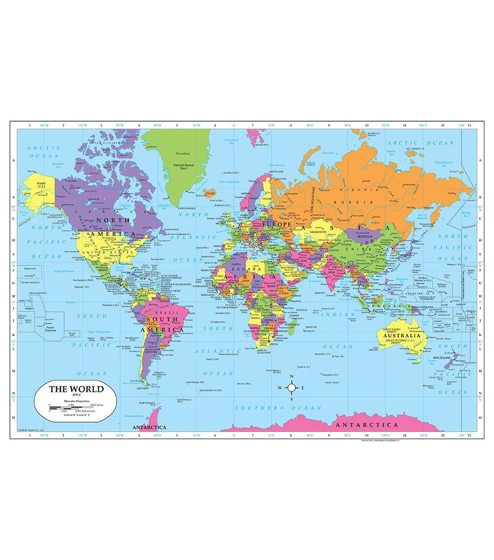 Painless Learning Laminated Placemat-World Map