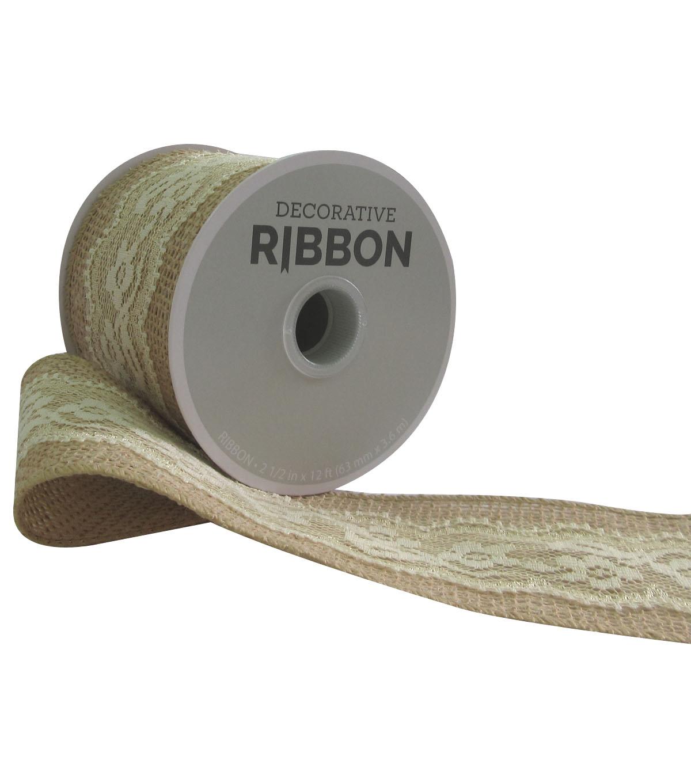 Decorative Ribbon 2 5''x12' Lace on Burlap-Ivory