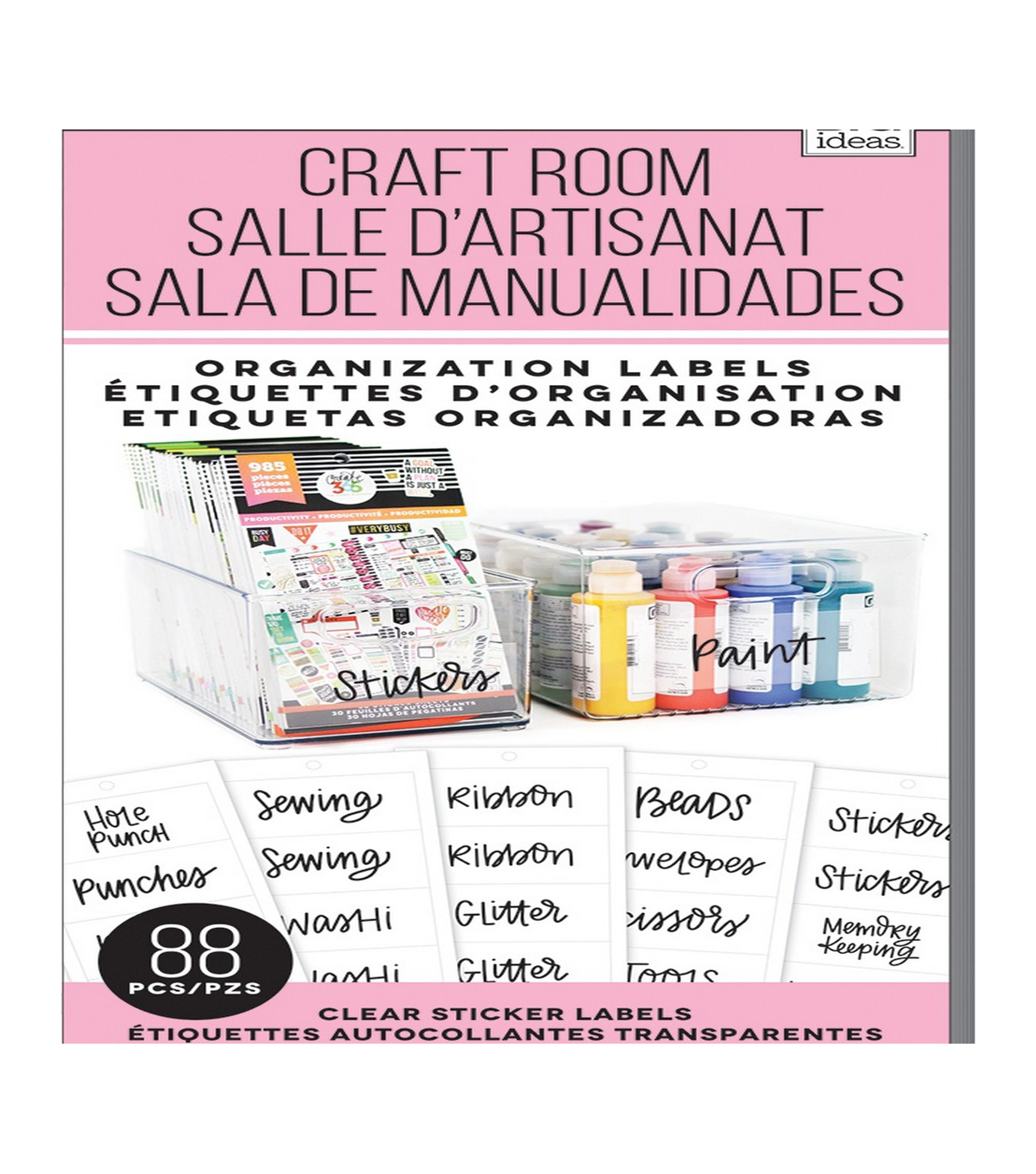 Me my big ideas 88 pk clear sticker labels craft room