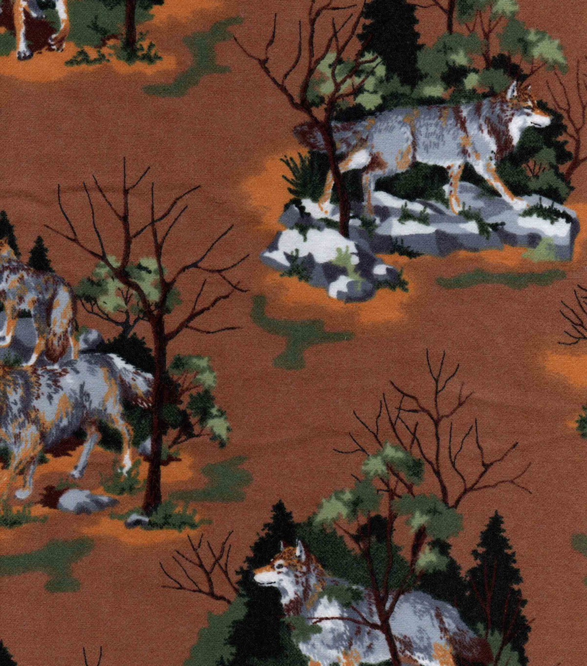 Snuggle Flannel Fabric 42\u0022-Wild Wolves