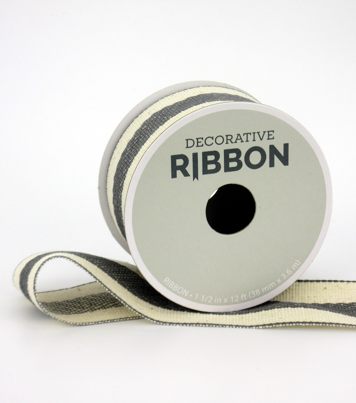 Save the Date Decorative Ribbon 1.5\u0027\u0027x12\u0027-Gray Stripe on Ivory
