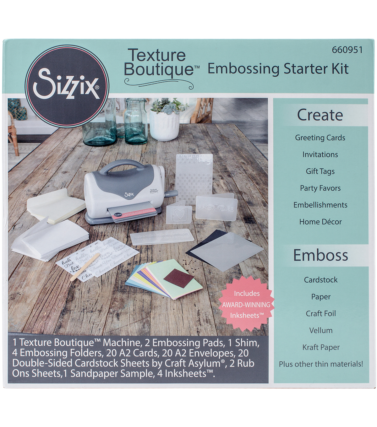 Sizzix Texture Boutique Embossing Starter Kit-Gray & White