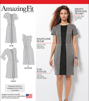 Simplicity Patterns Us1060Aa-Simplicity Misses\u0027& Plus Size Amazing Fit Dress-10-12-14-16-18