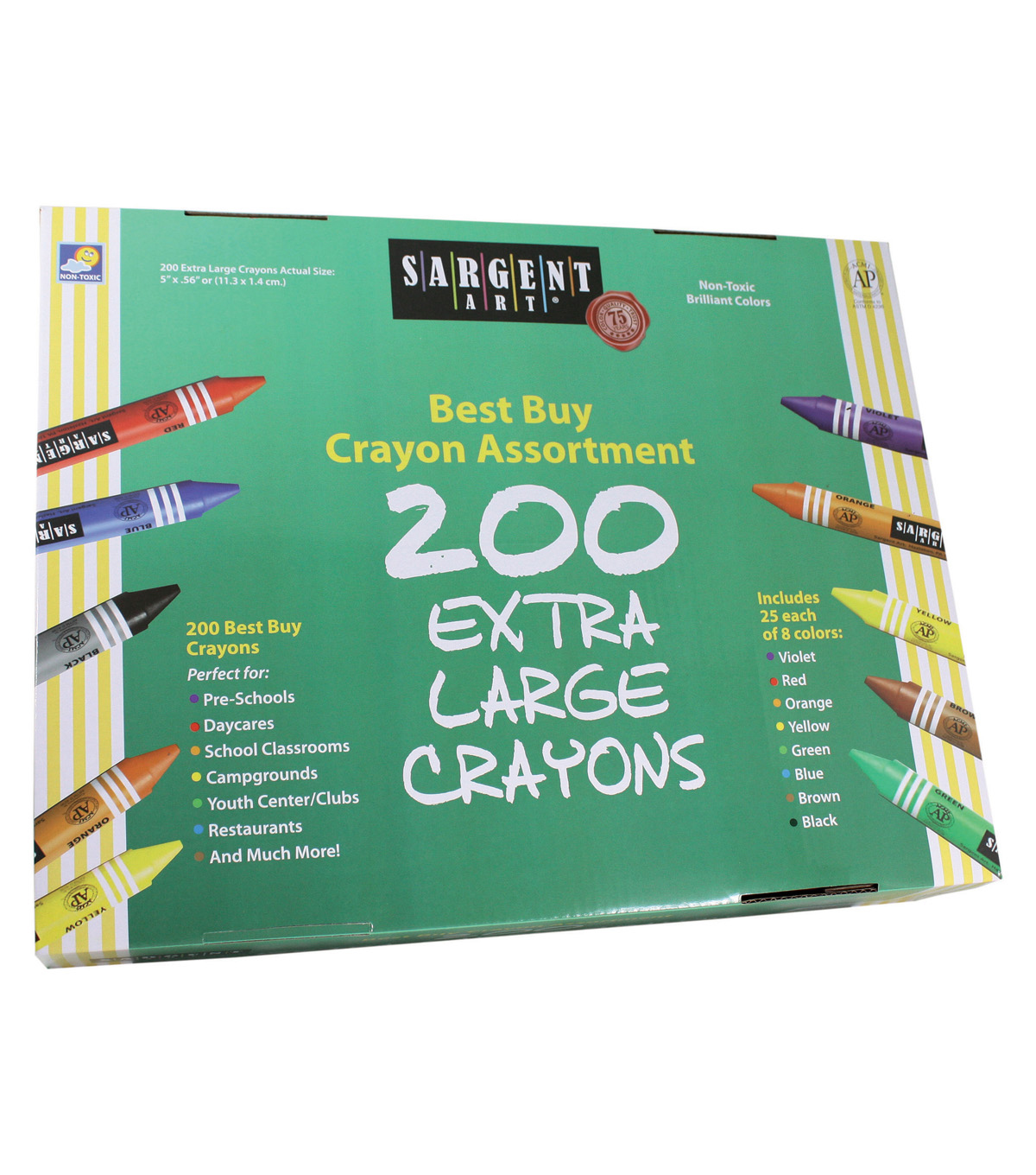 Sargent Art Best-Buy Crayon Assorted, Extra Lg Size, 200 ct