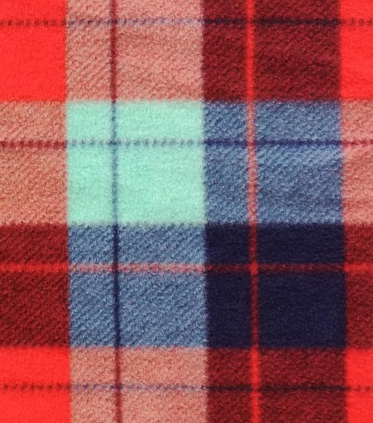 Anti-Pill Fleece Fabric -Red Teal Navy Plaid