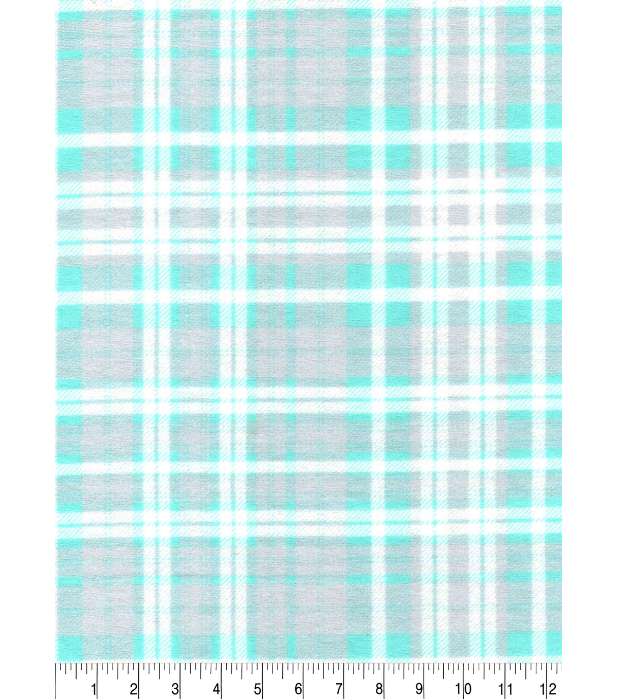 Snuggle Flannel Fabric -White & Mint Plaids