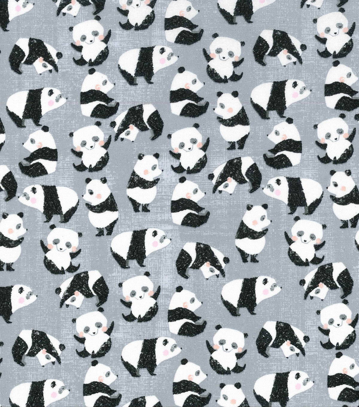 Novelty Cotton Fabric 43\u0027\u0027-Playful Pandas on Gray
