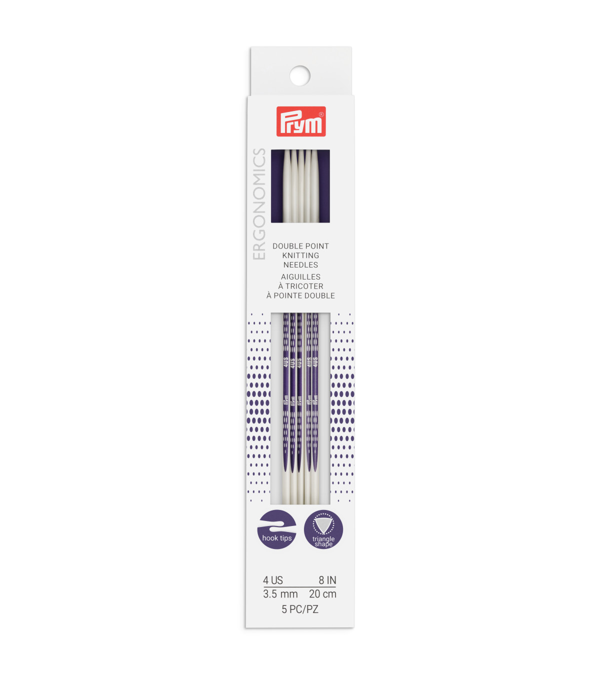 Prym Ergonomics 5 pk 8\u0027\u0027 Double Point Knitting Needles-Size 4