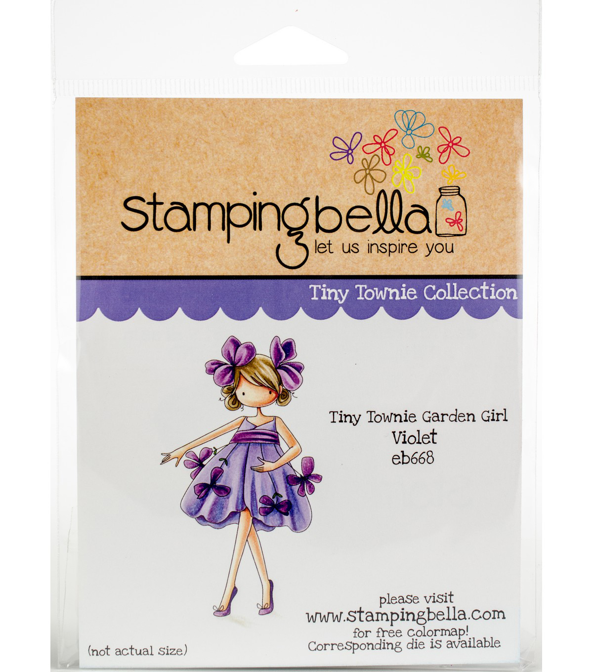 Stamping Bella Rubber Cling Stamp-Tiny Townie Garden Girl Violet