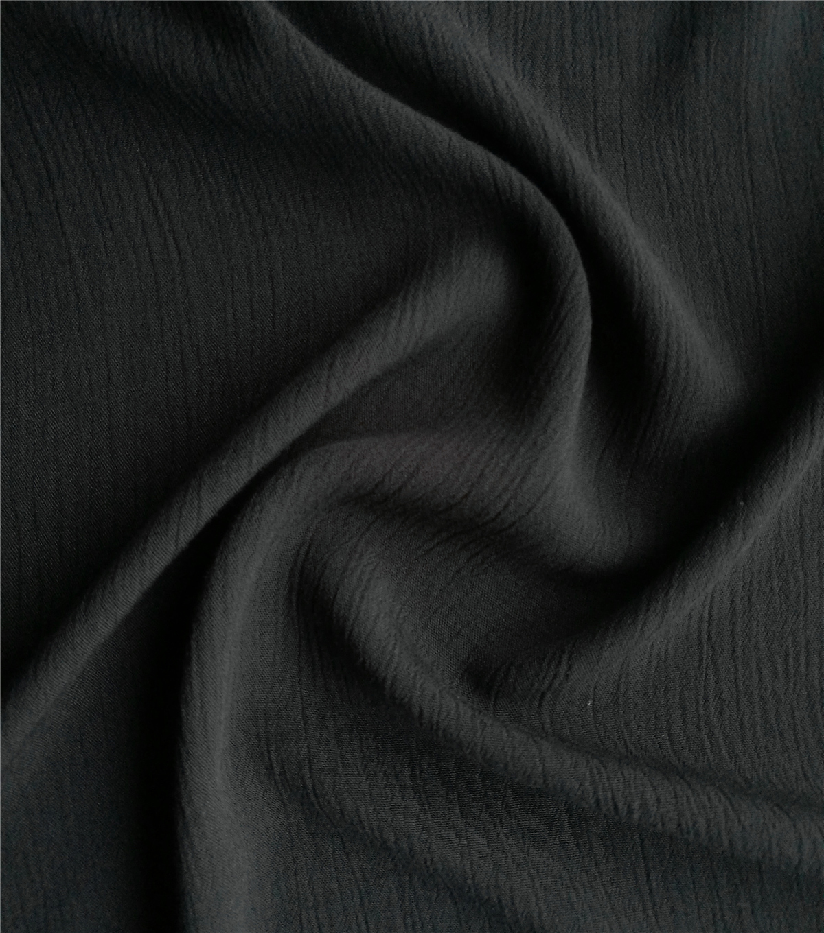 Silky Solids Crinkle Rayon Fabric-Black