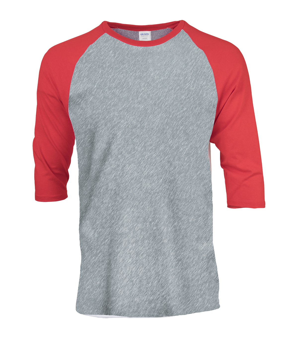 Gildan Large Adult Raglan Crew Sport T-Shirt, Grey-red