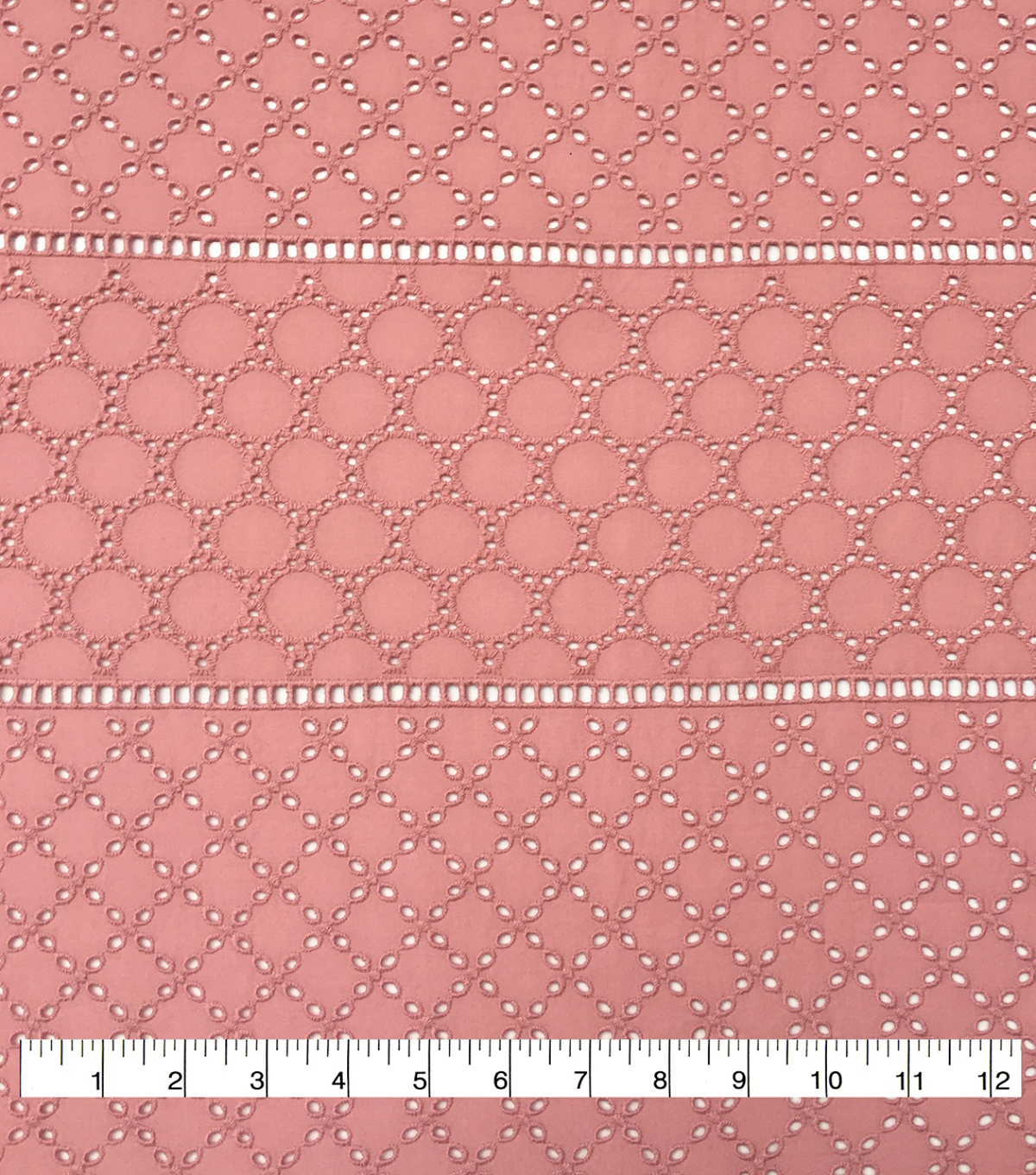 Homestead Linear Cotton Eyelet Fabric-Rose Tan