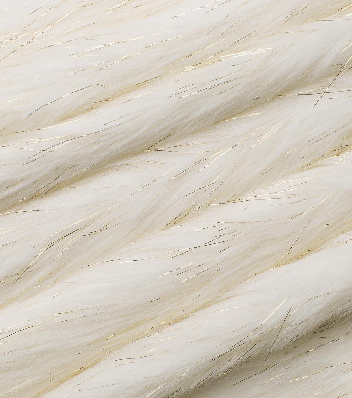 Fashion Faux Fur Fabric 59\u0022-Ivory Gold Metallic