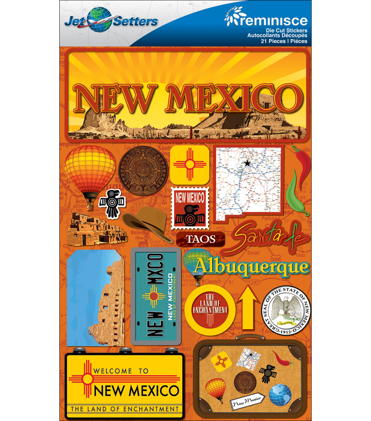 Jet Setters Dimensional Stickers-New Mexico