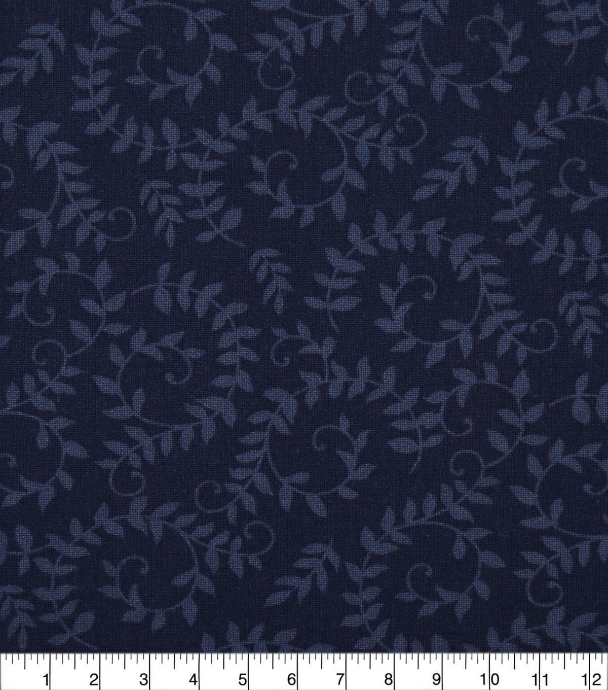 Wide Quilt Cotton Backing Fabric 108\u0022-Monaco Blue Scroll