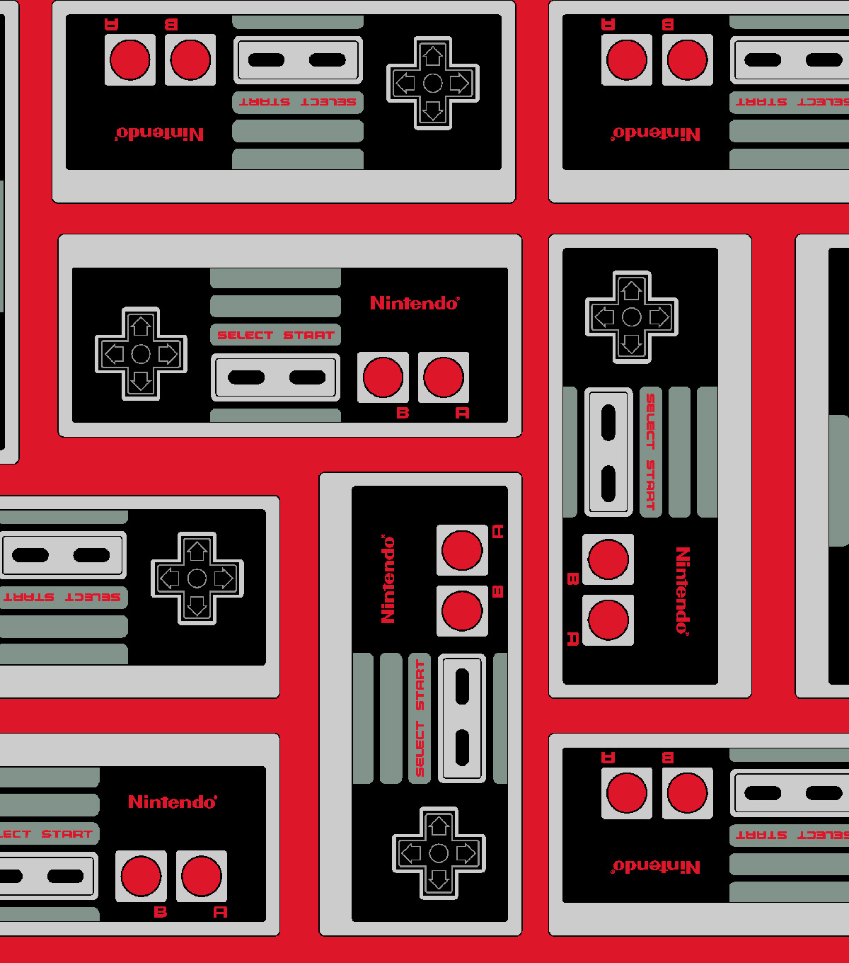 Nintendo Flannel Fabric 42\u0022-Game Controller