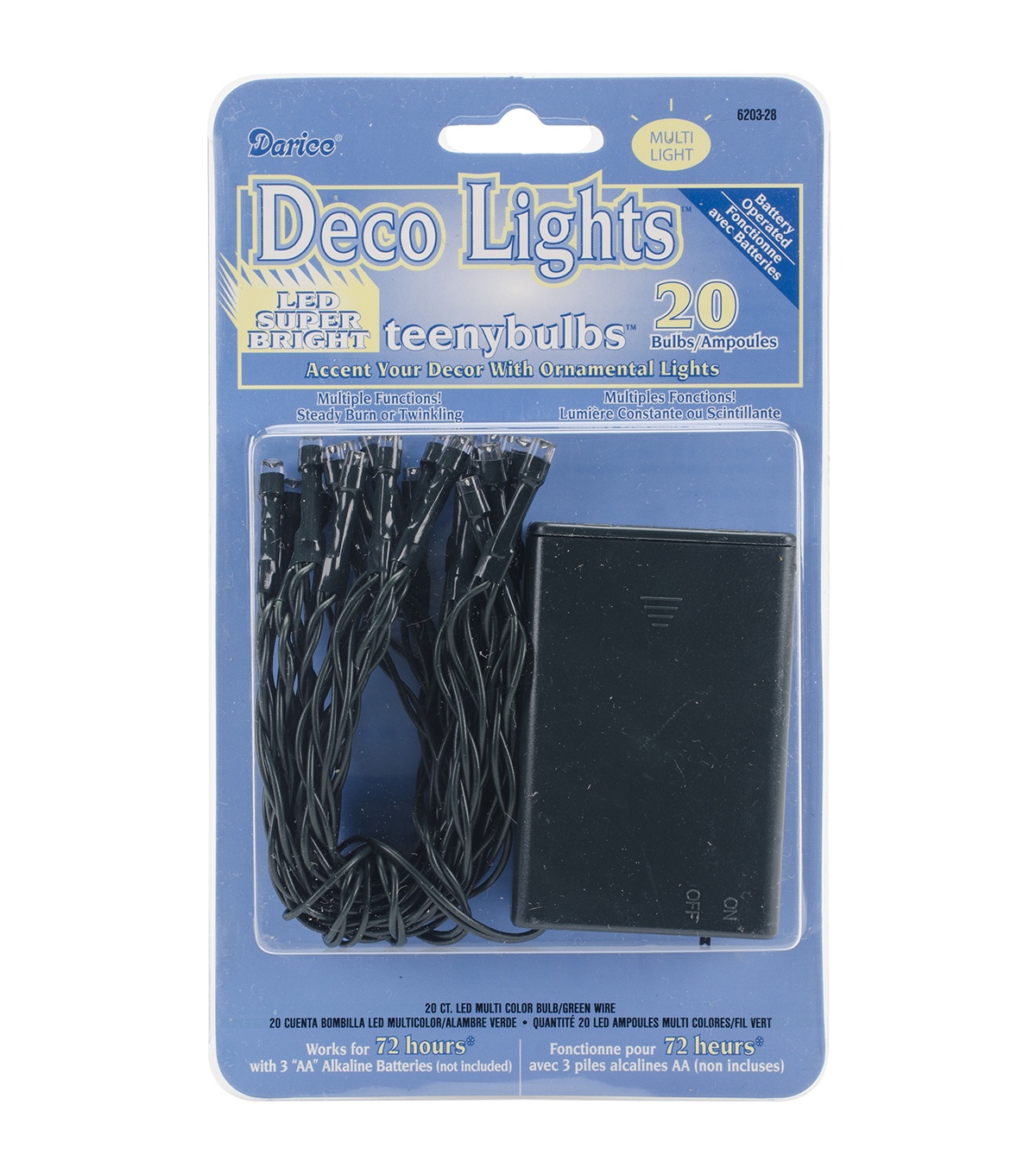 Darice 20 Ct Battery Operated Deco Lights With Teeny Bulbs-Green