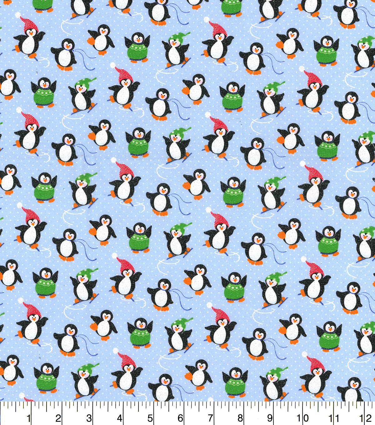 Christmas Cotton Fabric-Ice Skating Penguins Glitter