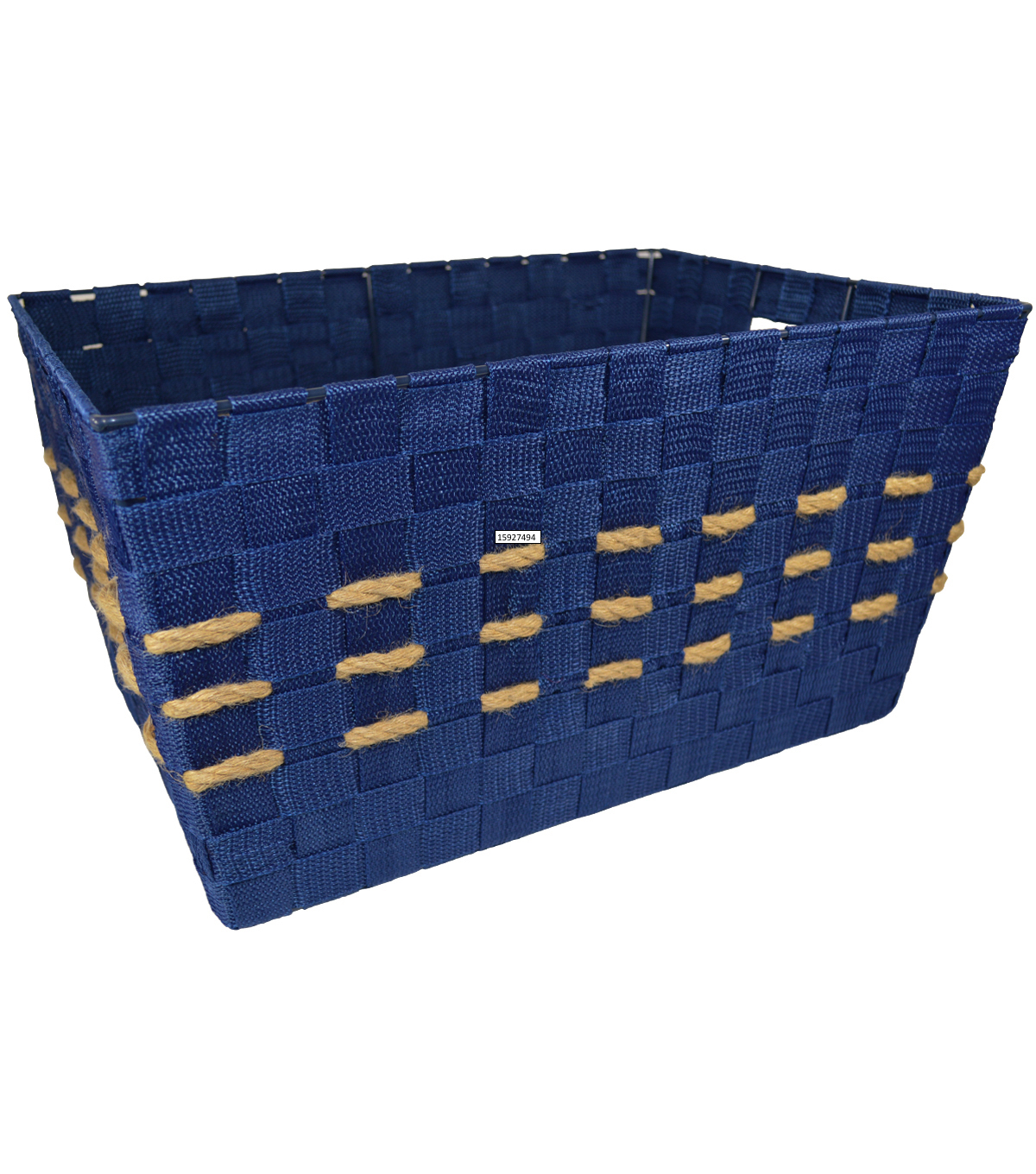 Organizing Essentials Large Strap Bin With Hemp Yarn-Navy