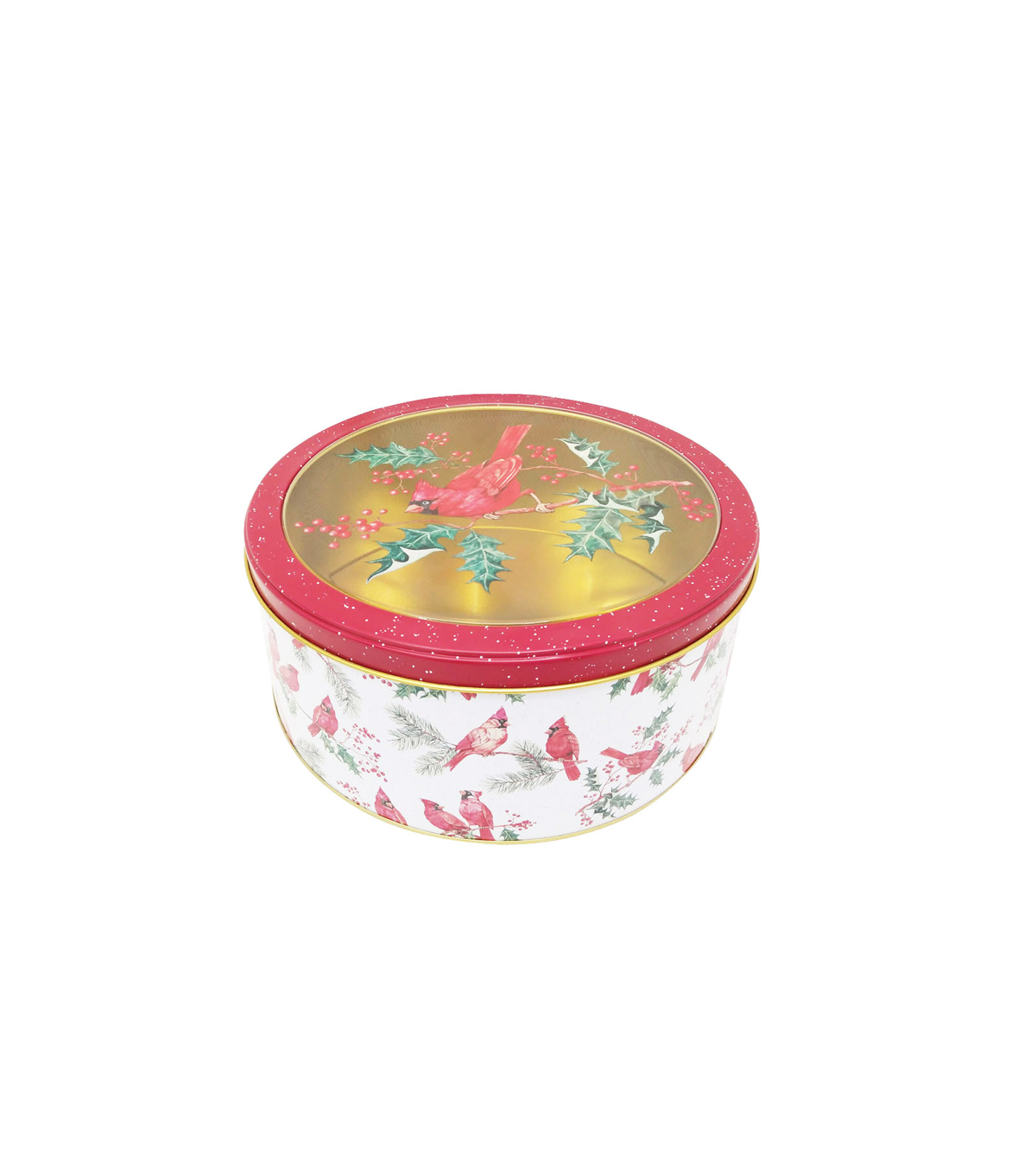 Maker\u0027s Holiday Medium Round Cookie Container with Clear Top-Cardinal