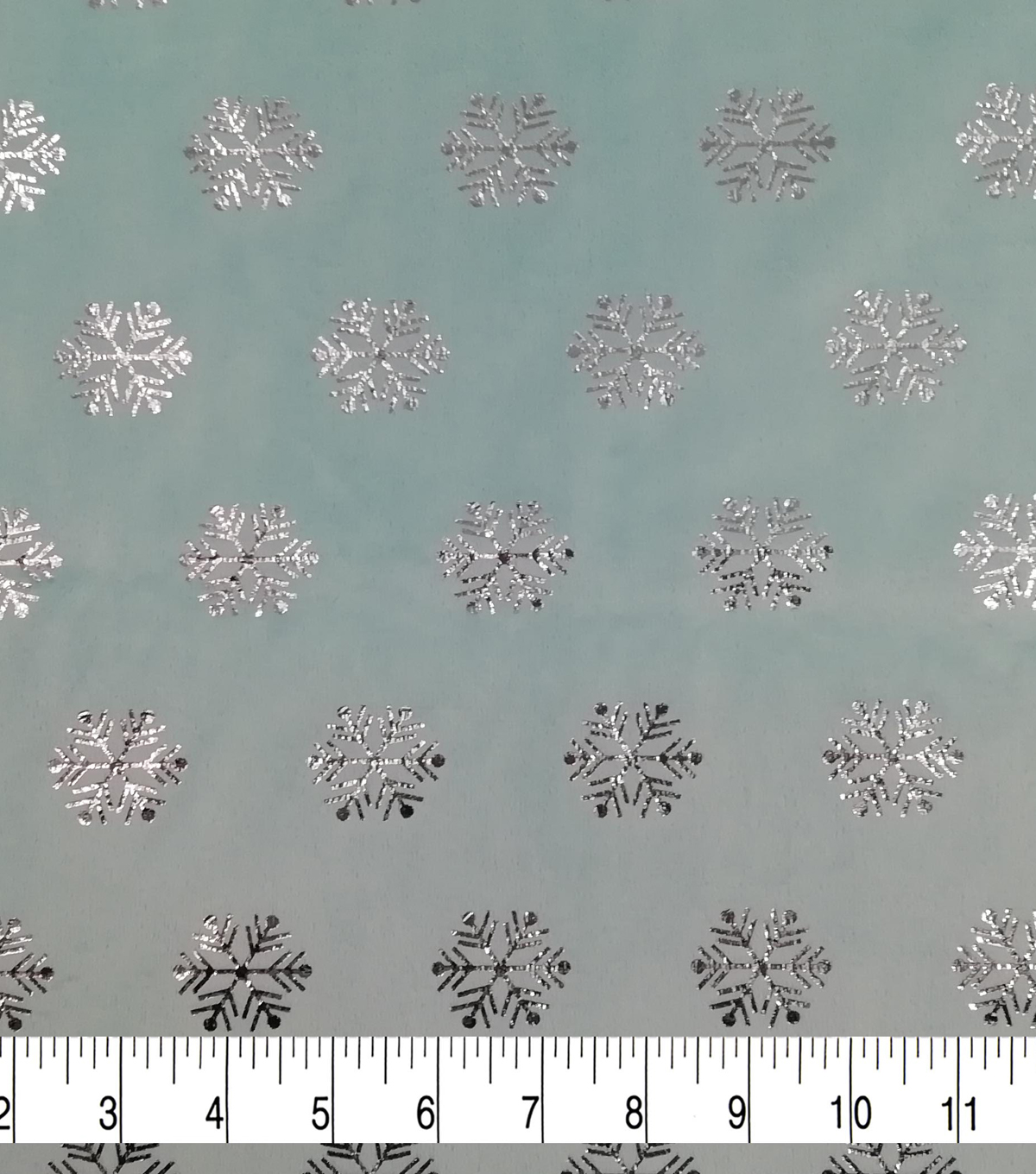 Christmas Soft & Comfy Fleece Fabric-Metallic Silver Snowflakes on Aqua