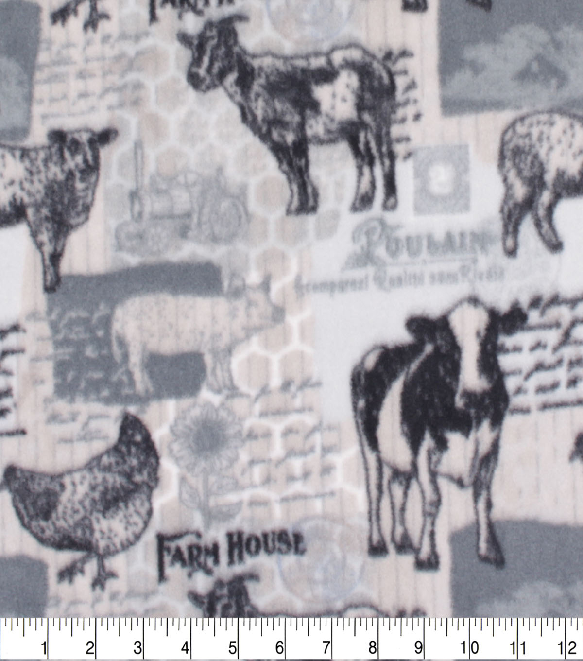 Anti-Pill Plush Fleece Fabric-Farmhouse Patch Words