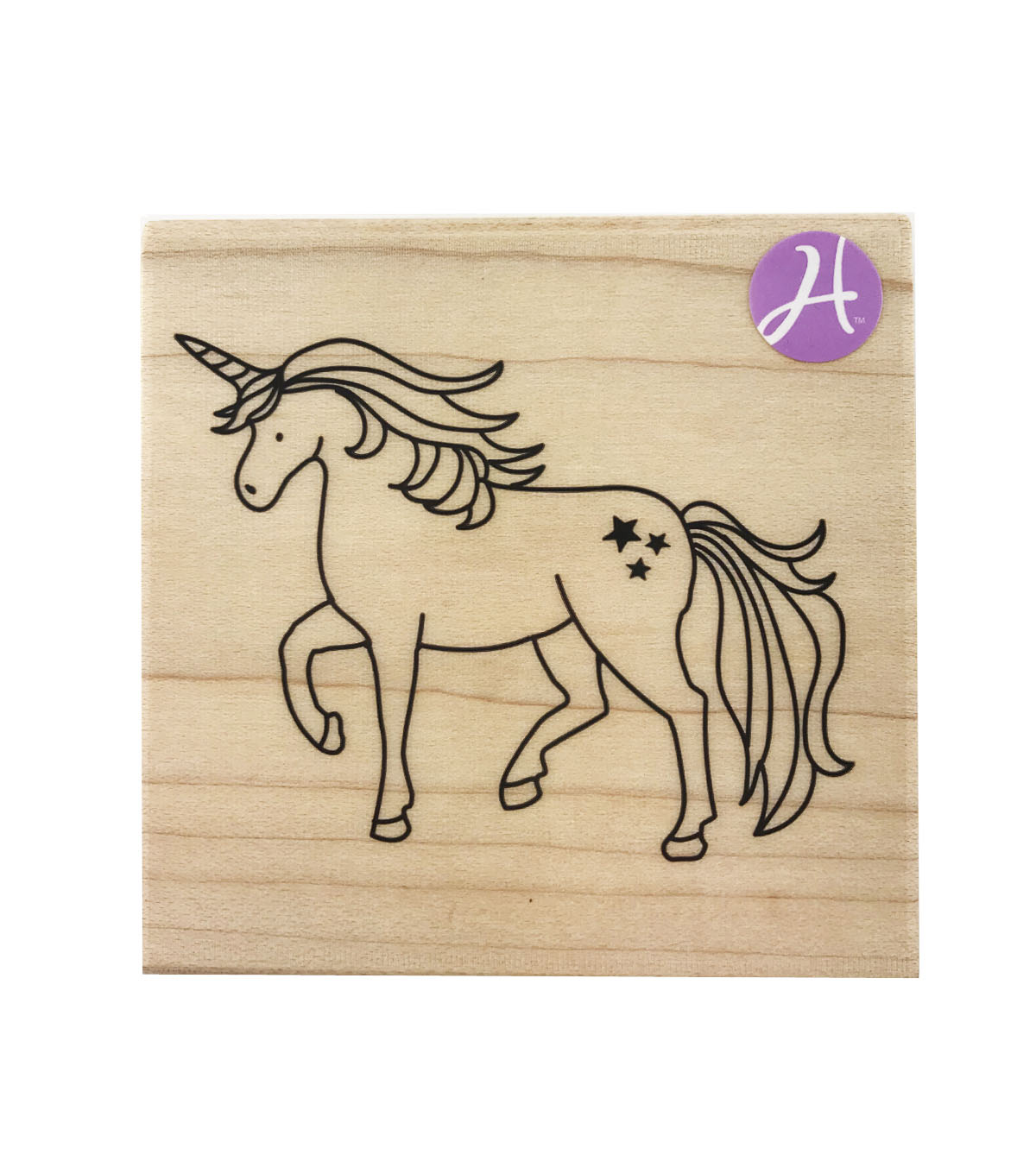 Hampton Art 3\u0027\u0027x3\u0027\u0027 Wood Mounted Rubber Stamp-Unicorn