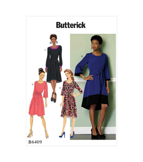 Butterick Pattern B6409 Misses\u0027 Jewel-Neck, Drawstring Dresses-Size 4-14