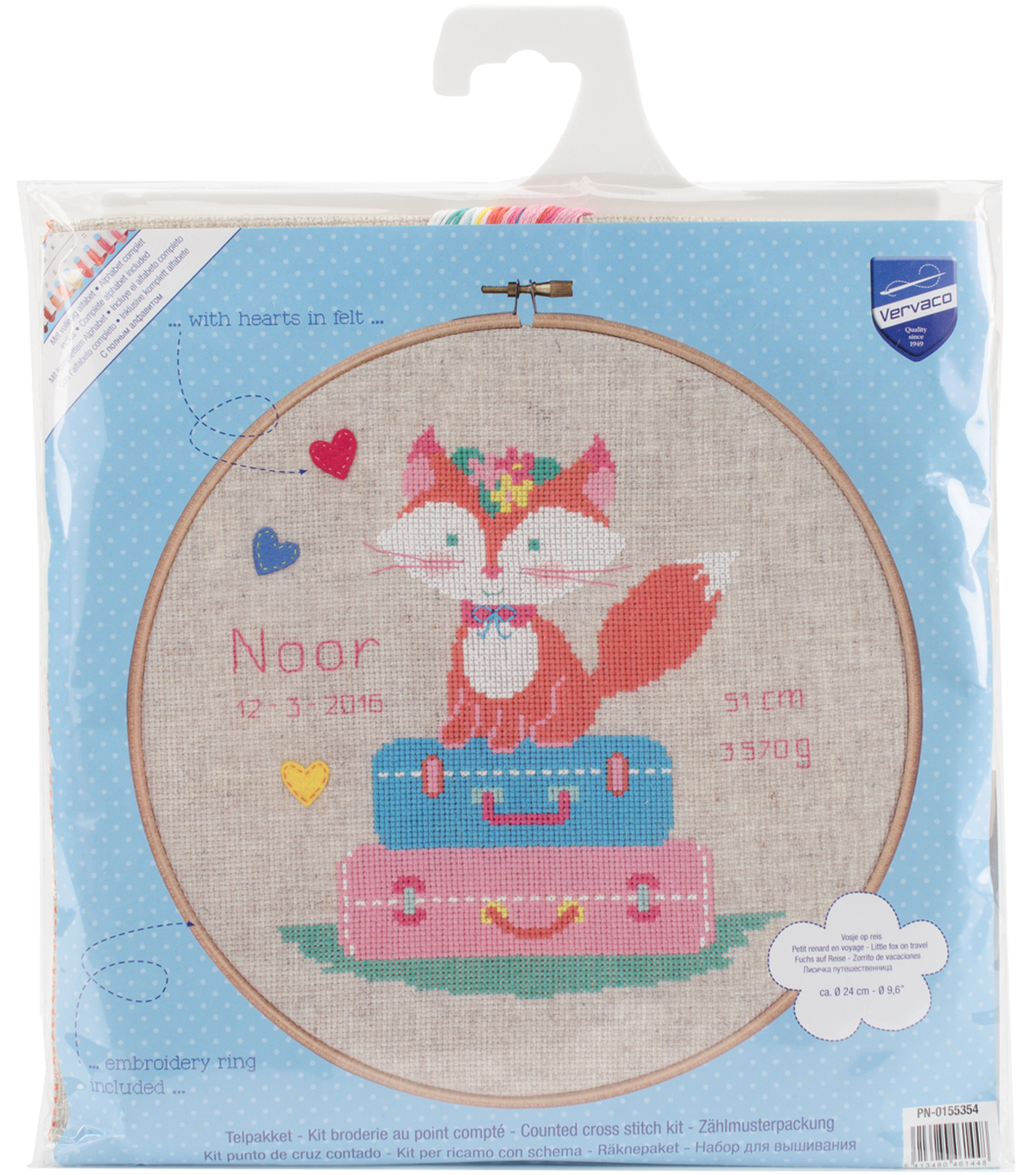 Vervaco Counted Cross Stitch Kit-Little Fox on Travel & Birth Record