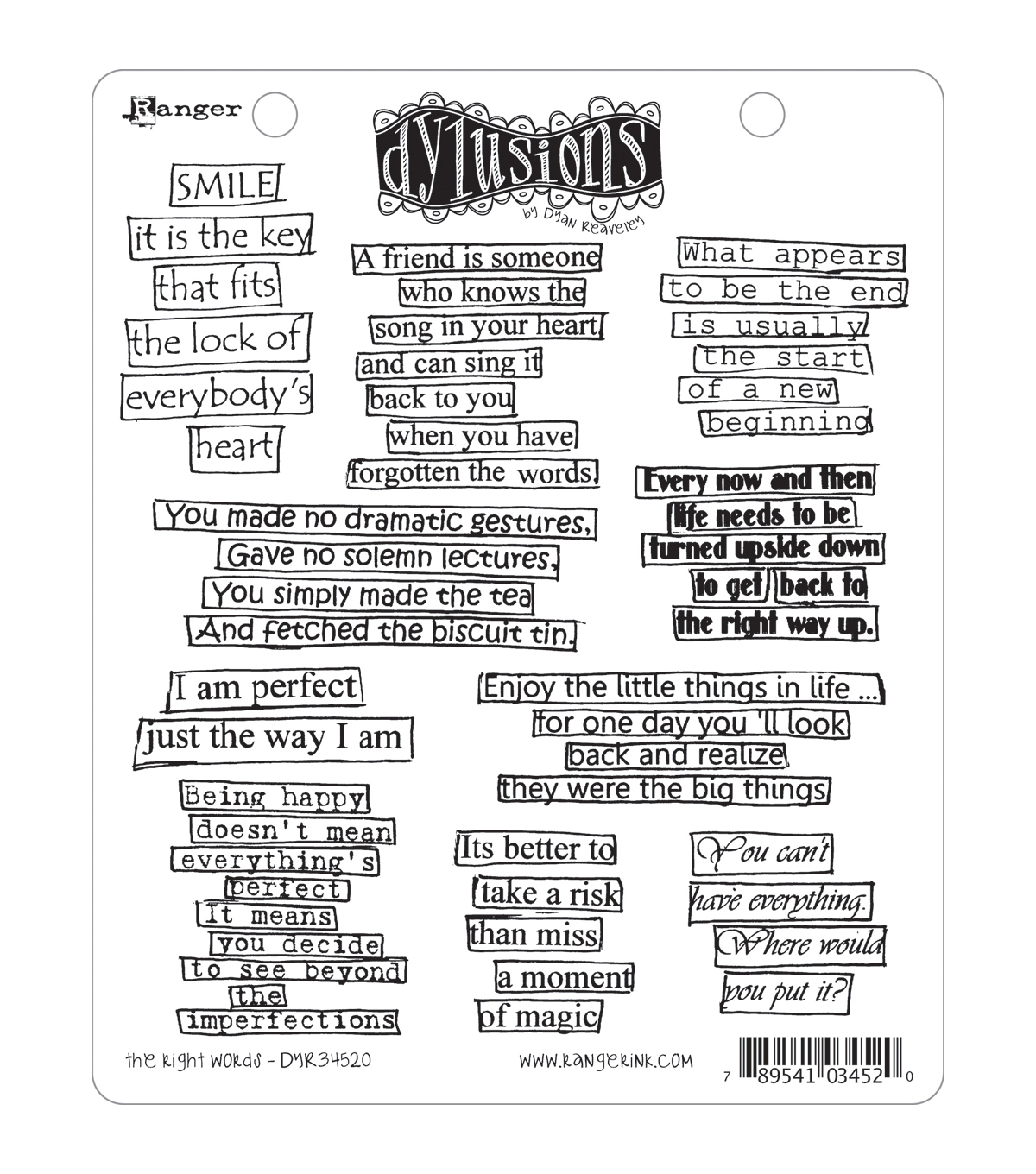 Dyan Reaveley\u0027s Dylusions Cling Stamp Collection-The Right Words