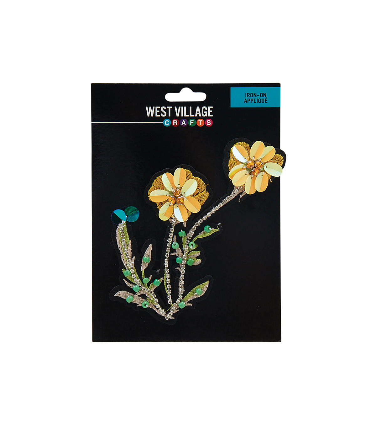 West Village Iron-on Applique-Beaded Sequin Yellow Flower