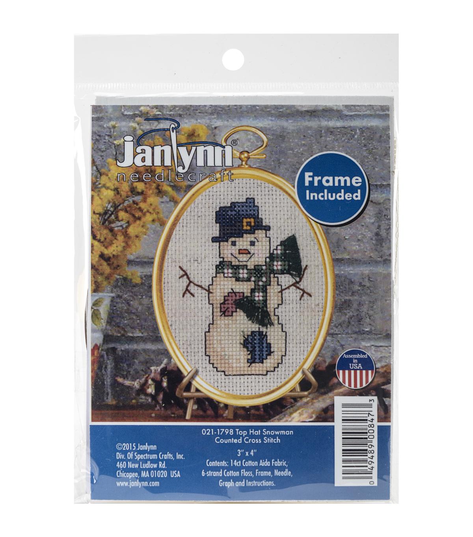 Janlynn Mini Counted Cross Stitch Kit-Top Hat Snowman