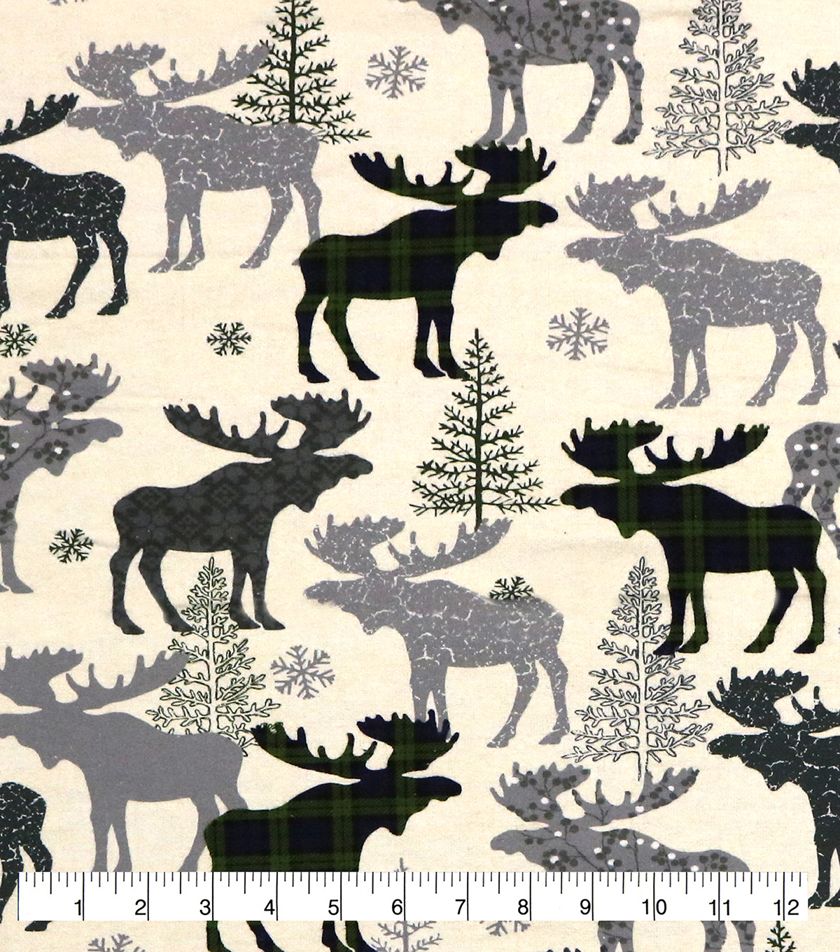 Super Snuggle Flannel Fabric-Patterned Blackwatch Moose