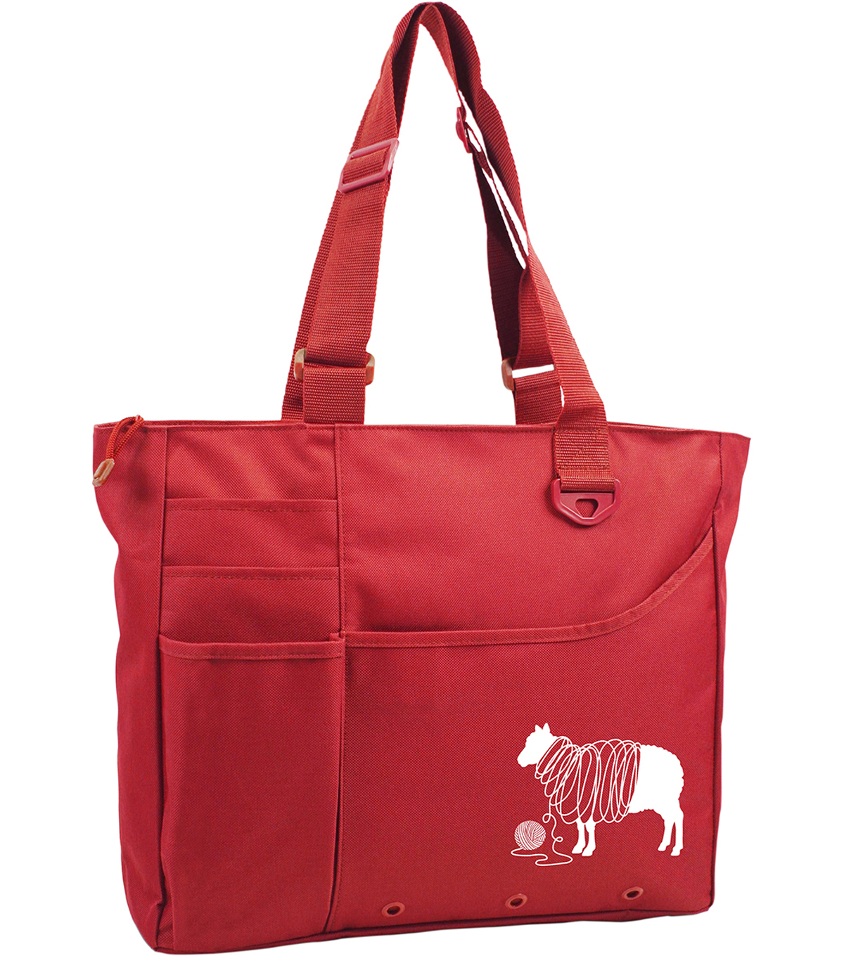 Knit Happy Unwound Sheep Bright Bag 15\u0022X13\u0022X4\u0022-Red