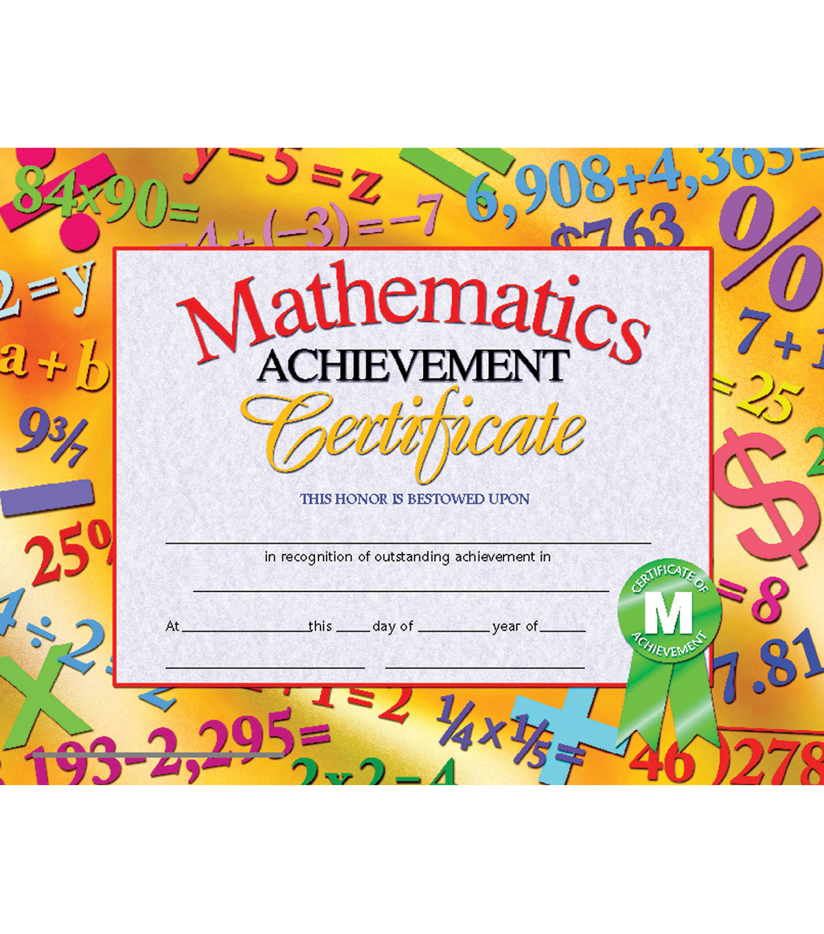 Hayes Mathematics Achievement Certificate, 30 Per Pack, 6 Packs