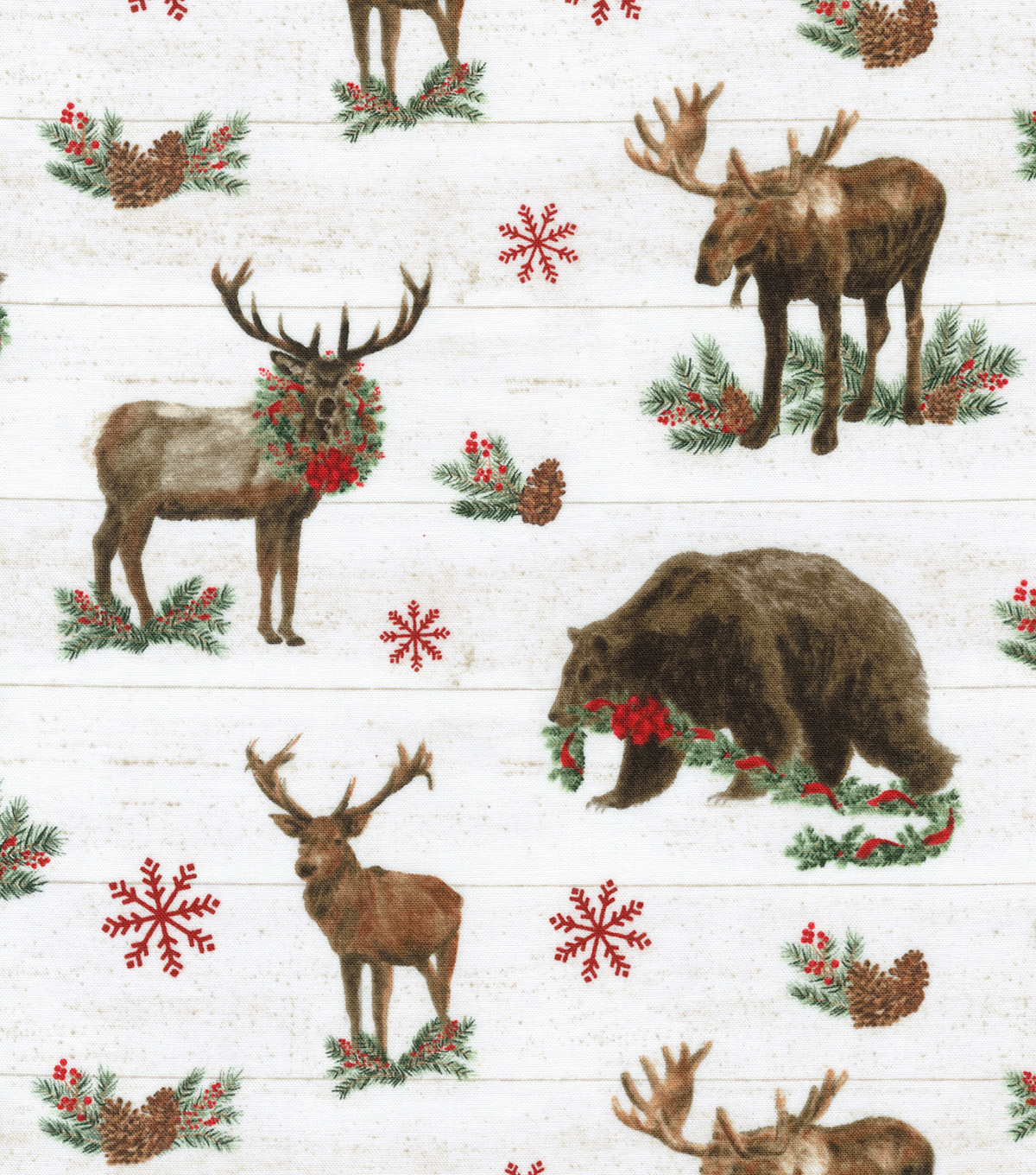 Christmas Cotton Fabric-Lodge Friends On Wood