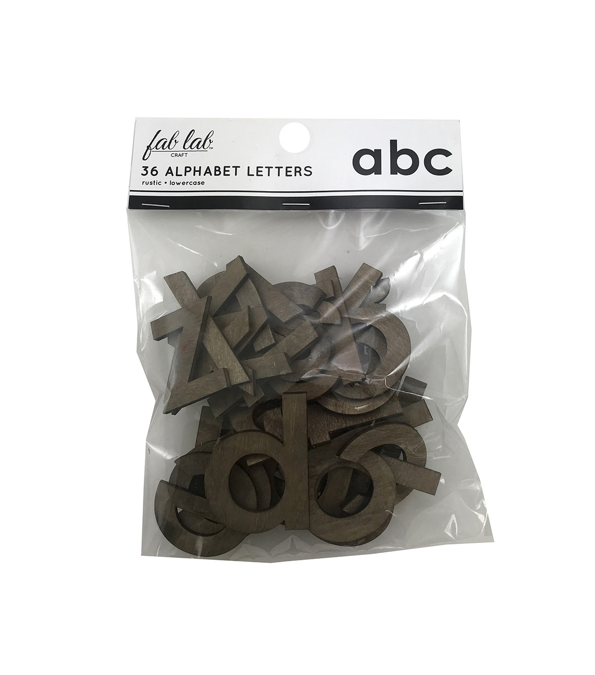Fab Lab Craft 36 pk Lowercase Alphabet Letters-Rustic