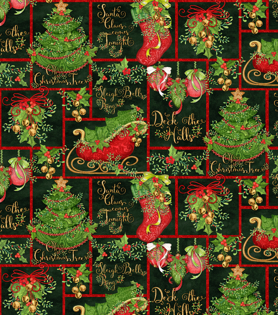 Christmas Cotton Fabric-Holiday Phrases