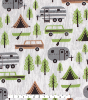Anti-Pill Plush Fleece Fabric-Camping & Pines