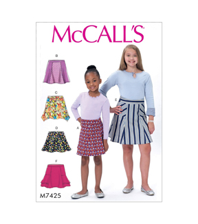 McCall\u0027s Pattern M7425 Girls\u0027 Flared Skirts with Gores-Size 3-6