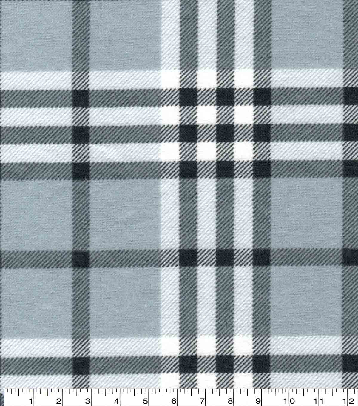 Snuggle Flannel Fabric-Traditional Light Gray Plaid