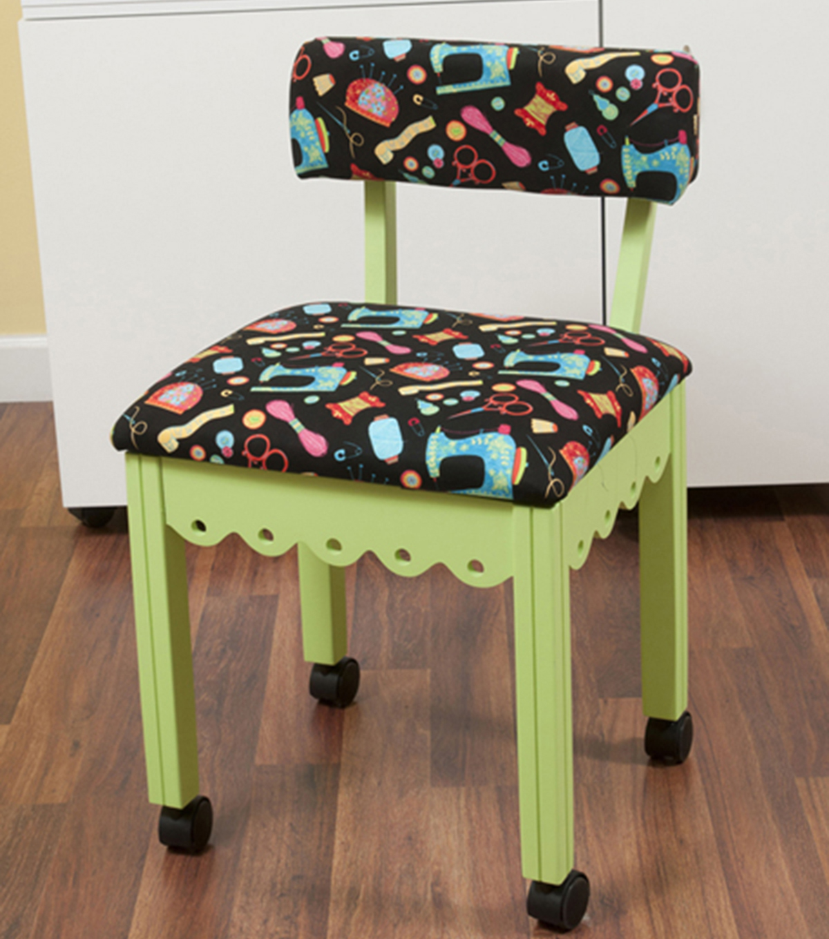Arrow Green Sewing Chair with Scalloped Base-Sewing Notions on Black