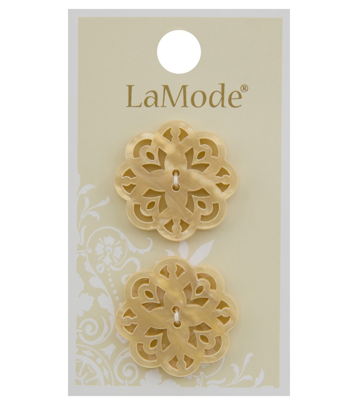 La Mode 2 pk 1\u0027\u0027 Buttons-Pearlized Ivory